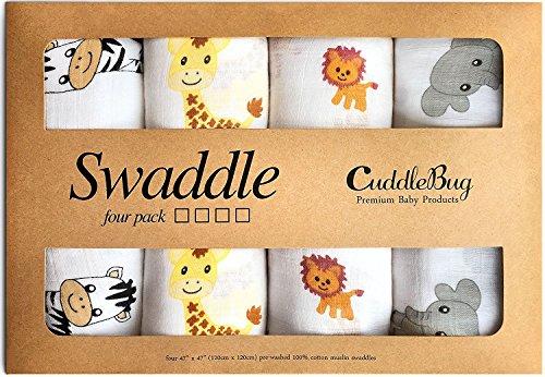 CuddleBug Musselin Wickel Baby Decke - (4er Pack) - Musselin...